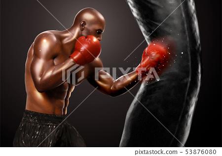 Strong boxer punching sandbag 53876080