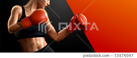 Female boxer with red boxing gloves 53876097