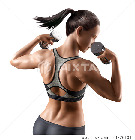 Fitness woman with dumbbell 53876101