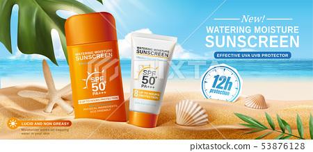 Sunscreen ads on beautiful beach 53876128
