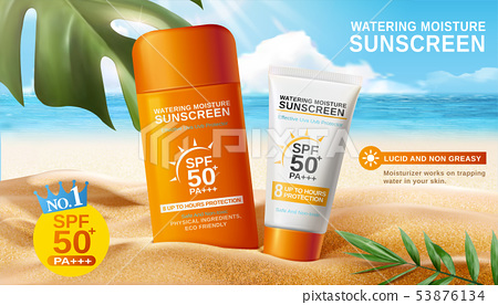 Sunscreen ads on beautiful beach 53876134