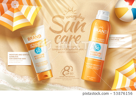 Sunscreen spray and tube ads 53876156
