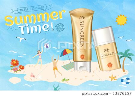 Golden color sunscreen ads 53876157