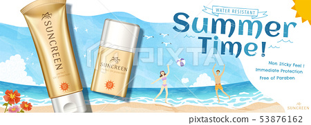 Golden color sunscreen ads 53876162