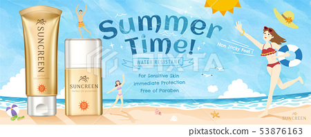 Golden color sunscreen ads 53876163