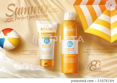 Sunscreen spray and tube ads 53876164