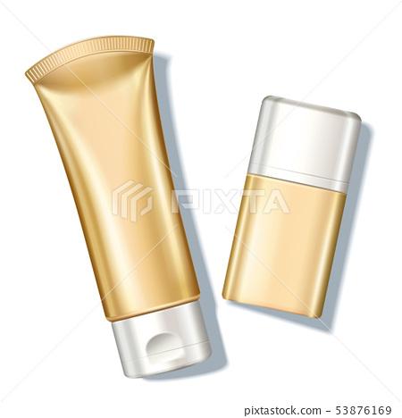Blank golden sunscreen bottle 53876169