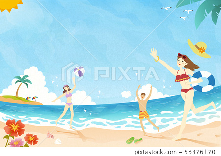 Summer time playing at the beach 53876170