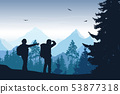 Vector illustration of mountain landscape with 53877318