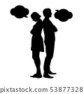 Silhouette of a young couple in a dispute 53877328