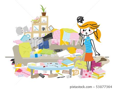 一個非常凌亂的房間 53877364