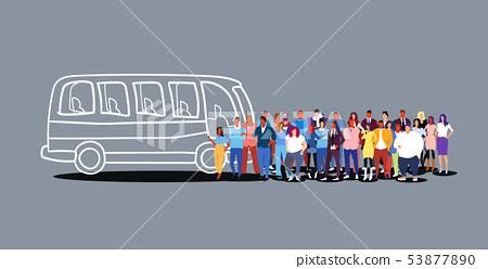 group of people passengers waiting for tour bus tourists men women crowd at city public transport 53877890