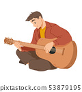 Man playing guitar. Musician. Musical performance. Vector 53879195