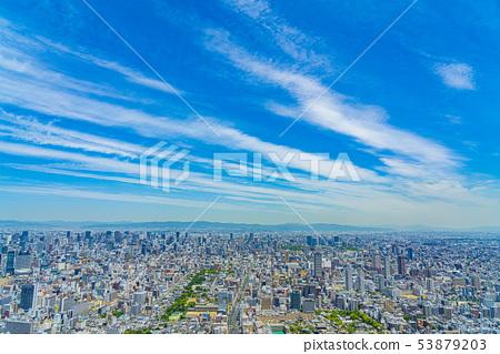 大阪城市景观北方向从阿倍野Harukas 53879203