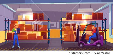 Inner view of warehouse interior, logistics, stock 53879308