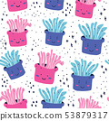 Cute doodle sea creatures seamless pattern 53879317