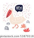 Hand drawn cute pelican doodle illustration 53879318
