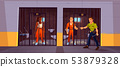 Prisoners in prison jail and policeman. Police 53879328