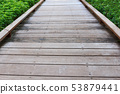 Old wooden floor footpath background. 53879441