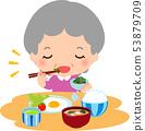 吃早餐的资深妇女 53879709