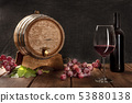 A glass of red wine with a bottle, a wine barrel, grapes, and vine leaves, on a dark rustic 53880138