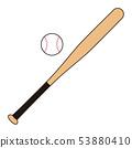 Baseball bat and ball Baseball bat Baseball ball illustration 53880410