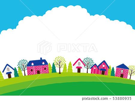 집 풍경 일러스트 거리 53880935