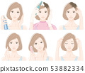 Illustration of a woman doing hair care 53882334