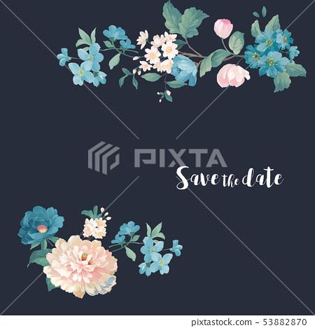 優雅的水彩花卉設計,中國設計 53882870