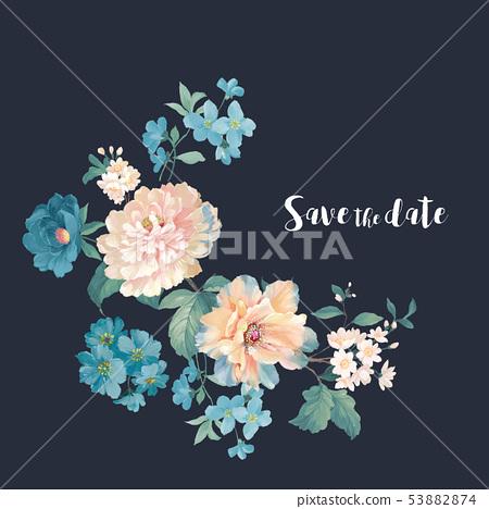 優雅的水彩花卉設計,中國設計 53882874