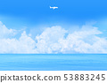 Clouds floating in the sea and clear sky, clouds in the shape of an airplane 53883245