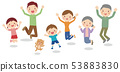 Illustration of a smiling three generation family jumping with a dog 53883830