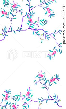 優雅的手繪油畫花卉和樹枝 53884617