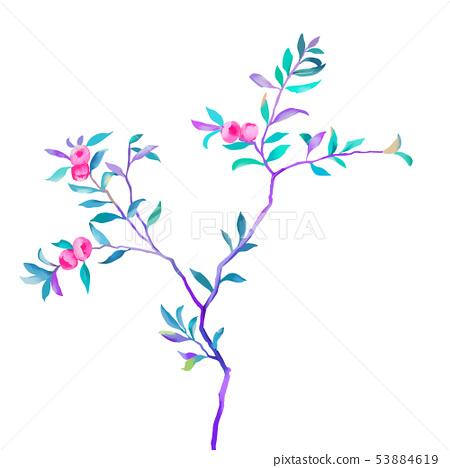 優雅的手繪油畫花卉和樹枝 53884619