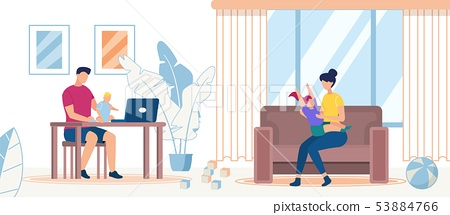Happy Family Spending Time at Home, Parents, Kids 53884766