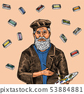 Bearded creative man on a color background with paints. Artist in a hat for a poster or banner 53884881