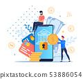Flat Modern Mobile Banking Vector Illustration.  53886054