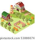 Farm farmyard with outbuildings isometric vector 53886674