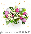 Text happy birthday with white and pink balloons 53888422