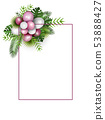 Festive frame with balloons and tropical leaves 53888427