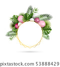 Festive frame with balloons and tropical leaves 53888429