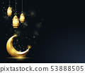 Islamic crescent and hanging down lanterns, 53888505
