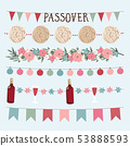 Set of hand drawn Jewish holiday Pesach, Passover garlands with lights, party bunting flags. Hand 53888593