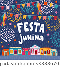Festa junina, Brazilian june party greeting card, invitation.. Latin American holiday.Garland of 53888670