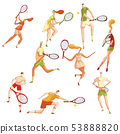 Set of images of tennis players. Vector illustration on white background. 53888820