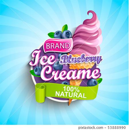 Blueberry Ice cream logo, label or emblem. 53888990