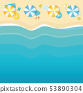 summer holiday on the beach parasol and wave background 53890304