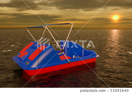 Paddle Boat in sea at sunset, 3D rendering 53891640