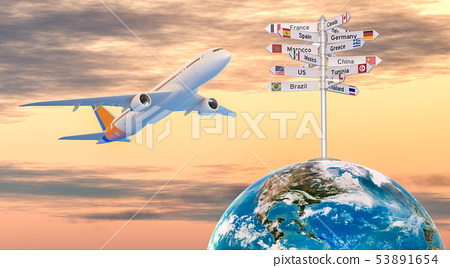 Airplane and signpost with names of countries 53891654