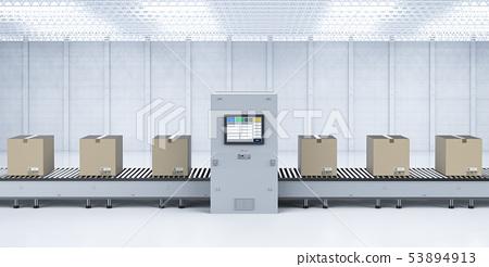 Cardboard boxes on conveyor line 53894913
